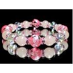 ピンク彫四神水晶10ミリ×ローズクォーツ8ミリ×アクアオーラ(化粧箱付)