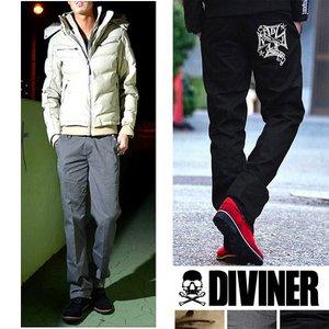 【DIVINER】スタースタッズクロス刺繍ツイルチノパンツ/グレーXLサイズ