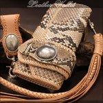 高級牛革(サドルレザー)×蛇皮使用◆本革3つ折り長財布 ダイヤモンドパイソンウォレット/ナチュラル