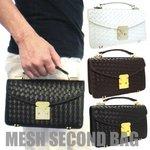 編み込みメッシュセカンドバッグ/ショルダーベルト付属/ブラック