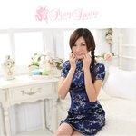 【チャイナドレス 梅柄刺繍 ショートタイプ】本格コスプレに!!/ネイビーMサイズ