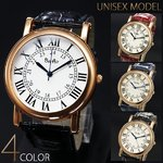 【ユニセックス仕様】クラシカル&ミディアムフェイス腕時計【保証書付き】/ネイビー