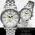 ゴールドMIX・ミディアムフェイス腕時計【保証書付】シルバー&ホワイト