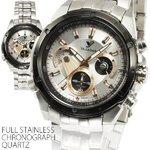 【シチズンミヨタ社製ムーブメント搭載】インナーベゼル・クロノグラフ腕時計【BOX・保証書付き】