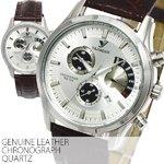 【シチズンミヨタ社製ムーブメント搭載】カレンダー付き・クロノグラフ腕時計【BOX・保証書付き】