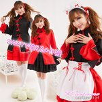 2WAY 着物ドレス メイド服/コスプレ衣装/スカートブラック
