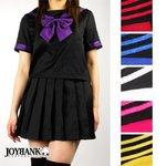 ビビットリボンのブラックセーラー服 6color/パープルLサイズ