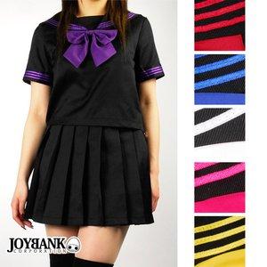 ビビットリボンのブラックセーラー服 6color/イエローLサイズ - 拡大画像