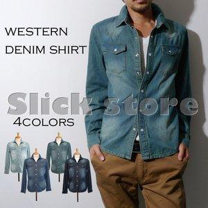 秋冬新作 No brand 6.5oz デニム ウエスタン 長袖シャツ/6 ONE WASH XLサイズ