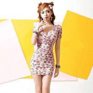 カシュクールワンピース/ピンク花柄模様Mサイズ