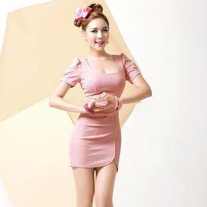 エンボス生地ピンクドレスSサイズ