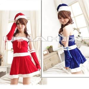 2color サンタ衣装 クリスマス/コスプレ 赤 - 拡大画像