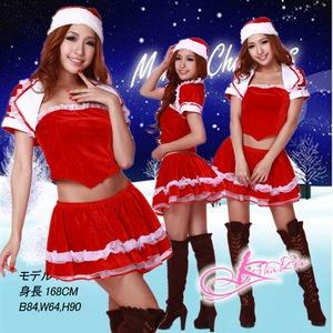 ボレロ付バニエ内臓のクリスマス衣装・サンタさん - 拡大画像
