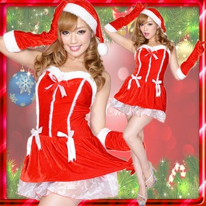 リボンサンタコスチューム3点セットクリスマス 赤