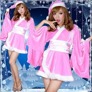 超ゴージャス!着物サンタコスチューム3点セット かわいい セクシー クリスマス ピンク - 拡大画像