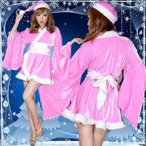 超ゴージャス!着物サンタコスチューム3点セット かわいい  セクシー クリスマス 赤
