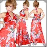 超豪華!孔雀和柄サテンロングドレス かわいい  セクシー キャバ 花魁着物ドレス パーティー 赤
