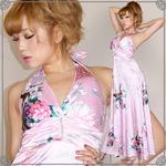 超豪華!孔雀和柄サテンロングドレス かわいい  セクシー キャバ 花魁着物ドレス パーティー ピンク
