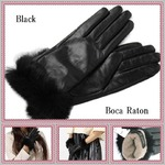 革手袋Boca Raton最高級ファー付レザー手袋レディスグローブカシミヤウール/ブラック