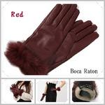 革手袋Boca Raton最高級ファー付レザー手袋レディスグローブカシミヤウール/ワインレッド