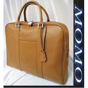 ビジネスバッグ牛床革製ビジネスバッグ■キャメル - 拡大画像