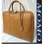 ビジネスバッグ牛床革製ビジネスバッグ■キャメル
