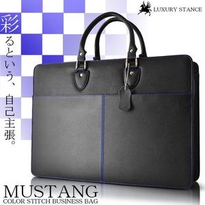 ビジネスバッグLUXURY STANCE 牛革カラーステッチ/ブラック×ブルー - 拡大画像