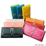 三つ折り財布フェイクレザー レディース/ブラック