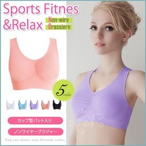 スポーツブラ ノンワイヤー/ピンクXLサイズ