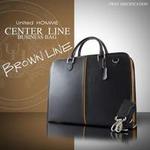 ビジネスバッグ センターライン レザー/ブラウンステッチ