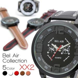 メンズ 腕時計 立体インデックスが特徴的なカジュアル/ホワイト - 拡大画像