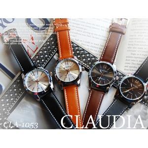 メンズ腕時計 皮バンド シンプル シルバーラウンド/べルト:キャメル文字盤:キャメル - 拡大画像
