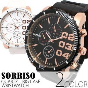 メンズ腕時計 【SORRISO ソリッソ】ビッグケース・ラバーベルト/ブラック - 拡大画像