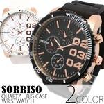 メンズ腕時計 【SORRISO ソリッソ】ビッグケース・ラバーベルト/ブラック