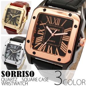 メンズ腕時計【SORRISO ソリッソ】ミディアムサイズ・スクエアケース/ゴールド&ブラウン - 拡大画像