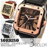 メンズ腕時計【SORRISO ソリッソ】ミディアムサイズ・スクエアケース/ゴールド&ブラウン