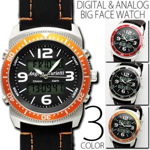 メンズ腕時計 正規【Angelo Jurietti アンジェロジュリエッティ】アナログ&デジタル腕時計/オレンジ