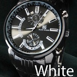 メンズ腕時計 ☆BLACK OCEAN★メタルタイプ ブラック ビッグフェイス/ホワイト