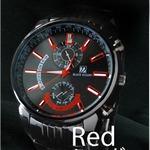メンズ腕時計 ☆BLACK OCEAN★メタルタイプ ブラック ビッグフェイス/レッド