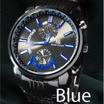 メンズ腕時計 ☆BLACK OCEAN★メタルタイプ ブラック ビッグフェイス/ブルー