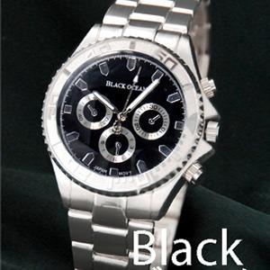 メンズ腕時計 BLACK OCEAN★ デザインクロノグラフ/ブラック - 拡大画像