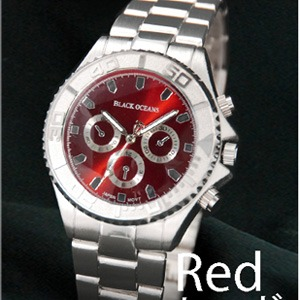 メンズ腕時計 BLACK OCEAN★ デザインクロノグラフ/レッド - 拡大画像