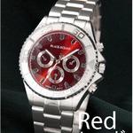 メンズ腕時計 BLACK OCEAN★ デザインクロノグラフ/レッド