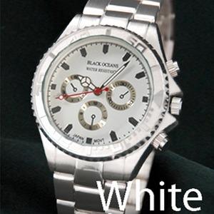 メンズ腕時計 BLACK OCEAN★ デザインクロノグラフ/ホワイト - 拡大画像