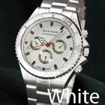 メンズ腕時計 BLACK OCEAN★ デザインクロノグラフ/ホワイト