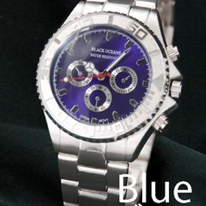 メンズ腕時計 BLACK OCEAN★ デザインクロノグラフ/ブルー - 拡大画像
