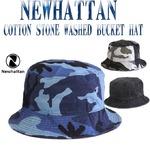 ハットメンズ  NEWHATTAN  COTTON STONE WASHED BUCKET HATS/BLUE CAMOサイズS-M