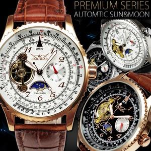 メンズ腕時計サン&ムーン自動巻き腕時計【BOX・保証書付】/ピンクゴールド&ホワイト - 拡大画像