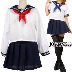 王道の女子高生セーラー服 スカーフ2色入り 半袖 制服 コスプレ衣装 - 拡大画像