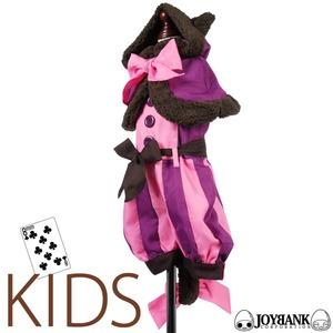 キッズ チェシャ猫風 ケープ&ロンパース 120サイズ 子供サイズ アリス ハロウィン - 拡大画像